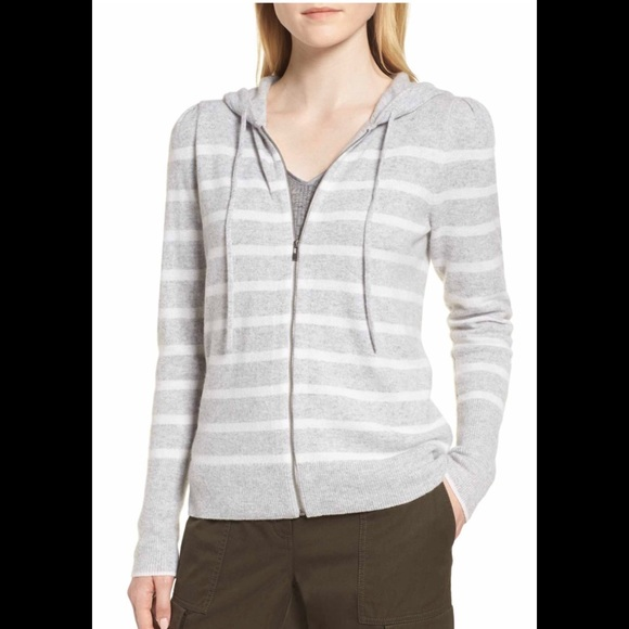 2eaa24f25 Nordstrom Sweaters | Nwt Signature Cashmere Striped Hoodie M | Poshmark